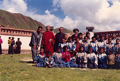 Rinpoche on a visit to the school