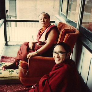 His Holiness the 16th Karmapa with Rinpoche on a balcony at Drubgyud Ling