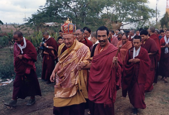 Chobgyay Trichen Rinpoche and a group of monks in Lumbini