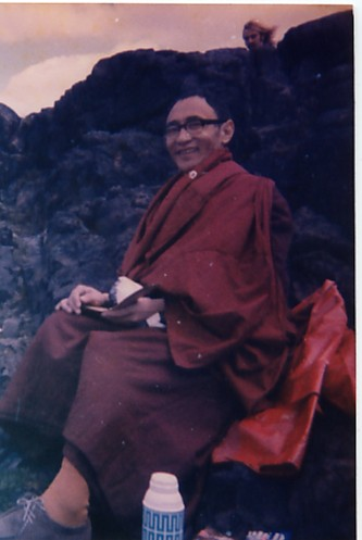 Karma Thinley Rinpoche at Edinburgh University, ceremony on top of hill