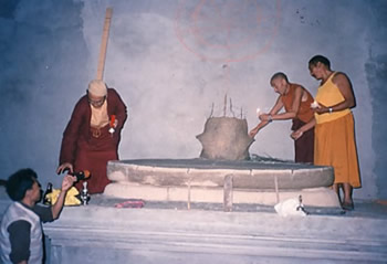Construction at Lekshay Ling Monastery