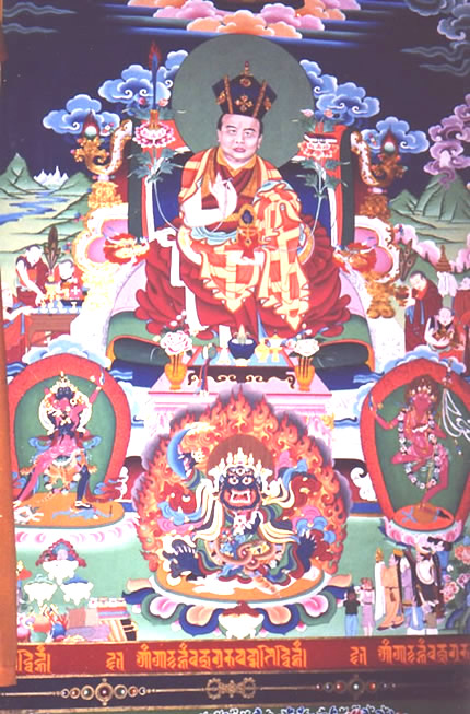 Wall painting of the 16th Karmapa, Rigpe Dorje